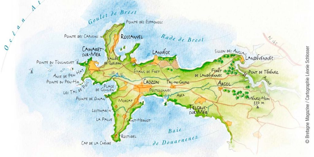carte presqu île de crozon La Presqu'île de Crozon et ses nombreux paysages maritimes – Le